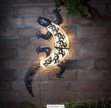 NEW WATERPROOF SOLAR POWERED GECKO WALL ART LIZARD OUTDOOR  GARDEN AUTO ON LIGHT