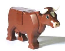 lego Brown Cow minifigure Animal W/ Horns new minifig pet for Farm / city