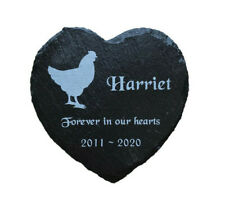 Personalised Engraved Slate Heart Pet Memorial Grave Marker Plaque Chicken