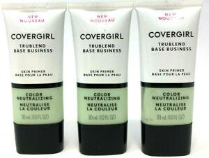 (3) Covergirl Trublend Base Business Skin Primer 1.0 fl oz Color Neutralizing