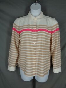Talbots Petites Stripe Blouse Shirt Top Size 16P Sheer Button