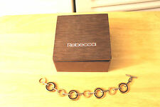 Rebecca Bracelet Designer Links Gold Silver Tone Brown Cream Enamel