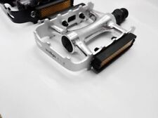 """Wellgo C1 MTB Mountain Bike Bicycle Cycling 9/16"""" Aluminum Pedals Black Silver"""