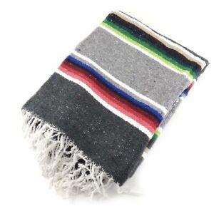 Fair Trade Authentic Mexican Falsa Blanket Throw Rug handmade stripe Large grey