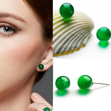 Women Natural Fashion Ear Stud Jade Earrings Solid Silver Green Jadeite