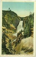 Postcard Great Fall Waterfall From Red Rock Yellowstone Park Haynes 16253 WY