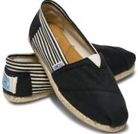 Toms Black University Stripe Espadrille Jute Canvas Casual Loafers Men's 11