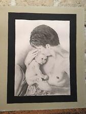 Dessin Au Crayon L'homme Et L'enfant 32 X 43,5 Cm  Signé