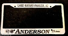 Vintage LAKE HAVASU METAL LICENSE PLATE FRAME ANDERSON AZ JEEP CHRYSLER PLYMOUTH