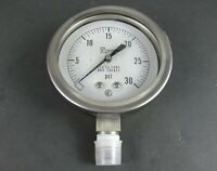 "Pacific Scientific Pressure Test Gauge PSIG 30 316 S.S. Tube and Socket, 4.5"""