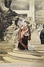 Georges CLAIRIN GRAVURE couleur SORTIE de l'OPERA Paris Illustré 1885