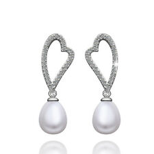 Classic18K White Gold Filled Cubic Zirconia Crystal Heart Seashell Pearl Earring