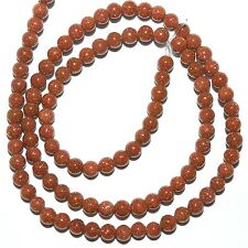 "GR340f Sparkly Brown Copper Goldstone 4mm Round Gemstone Glass Beads 16"""