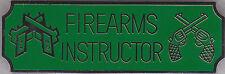 FIREARMS INSTRUCTOR Silver on Green Award Bar Uniform Pin (police/sheriff)