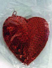 Beautiful Purse Size Sequin Heart Zippered Container New In Original Package