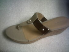 NINE WEST *HENDINAFF* WEDGE SANDALS BEIGE/BROWN SIZE 10