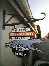 Greyhound Bus Depot Double sided Porcelain sign W/ Bracket