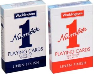 New Waddingtons No.1 Classic Playing Cards Twin Pack Red & Blue Poker Game