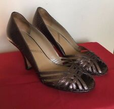 Tahari  Brown Shoes Open Toe High Heel  Leather Upper & Sole  Size 9,5 M