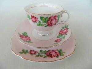 Vintage pretty Pale Pink and Roses Colclough Tea cup cake plate & saucer Trio