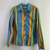 Tommy Hilfiger Womens 12 Button Down Multicolor Striped Long Sleeve Collared