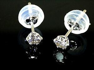 900 Platin Brilliant Ohrstecker  Solitär  1 Paar 0,2 Karat  SI  H,  Größe 3,2 mm