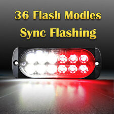 12 LED Car Emergency Hazard Warning Beacon 36W Strobe Light Bar Grill Red White