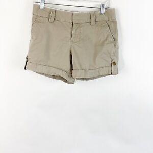 Banana Republic Tan Khaki Shorts Cuffed Casual Mid Rise Cotton Stretch Womens 4