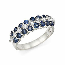 14K Gold 2.20 Ct Real Diamond Natural Blue Sapphire Anniversary Band Size M N O