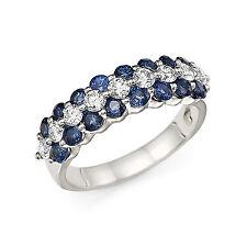 14K White Gold 2.20 Ct Diamond Natural Blue Sapphire Anniversary Band Size N P J