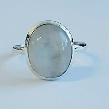 Handmade 925 Sterling Silver plain oval genuine Moonstone Ring