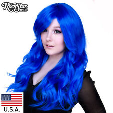 RockStar Wigs® Farrah Swoop Curly Bangs Royal Blue Wig USA- 00472