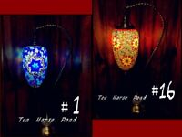 Turkish Lamp Mosaic Swanneck RAINDROP Glass Brass Plated Stand Multi Colour