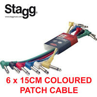 "Stagg Pack of 6 Multi Coloured 1/4"" Jack Patch Cables 15cm 6"" Long SPC015LE New"
