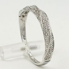 New Rhodium Plated Clear Crystal Rhinestone Wedding Bangle Cuff Bracelet 00567