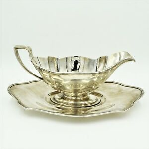 Gorham Plymouth Sterling Silver Gravy Boat With Underplate Set A2780 A2803 358g