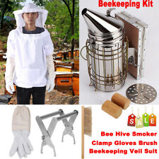 Best Stainless Steel Bee Hive Smoker + Beekeeping Veil Suit Gloves Brush Kit