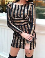 Women's long sleeve striped sequin party cocktail dress size small NWT