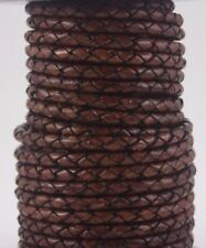 Genuine Round Bolo Braided Leather Cord Distressed Brown 5 mm 1 Yard