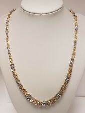 (1) UNIQUE 14CT WHITE & YELLOW GOLD TWISTED FANCY LINK CHAIN FULLY HALLMARKED