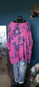 MADE IN ITALY floral Pocket lagenlook tunic  OSFA Size 16 18 20 22 24 PLUS * NEW