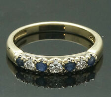 9ct Yellow Gold Sapphire & Diamond Eternity Ring (Size L) 3mm Wide