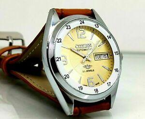 Citizen Automatic Men's Steel Blue Dial Day Date Vintage Japan Watch Run Order