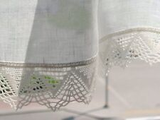 SALE White Curtains Vintage Lace Curtains Cafe Curtains Washed