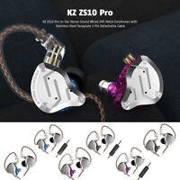 KZ ZS10 Pro HiFi Detachable Hydrid Headsets 4BA+1DD Iron Metal In-Ear Earphones