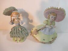 Vintage Japan Umbrella  Lace porcelain ceramic girl figurines