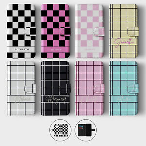 Tirita Personalised Wallet Flip Case for Samsung S10 S9 S8 Checkered Aesthetic