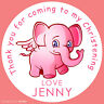Personalised Pink Elephant Christening round stickers labels party cone sheet
