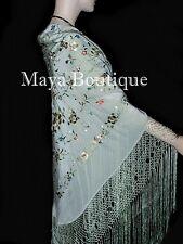 "Maya Matazaro Flamenco Embroidered Silk Piano Shawl Wrap Sage Green 84"""