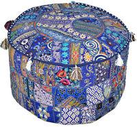 Bohemian Pouf Ottoman pouffe Vintage Patchwork Indian Pouf Round Ottoman Stool